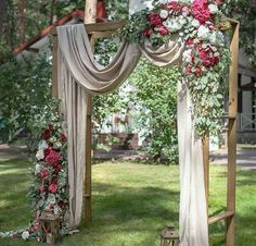 Beautiful wedding ceremony backdrop arbor with draping, flowers and lantern accents Mariage Floral 20 DIY Floral Wedding Arch Decoration Ideas Wedding Arbors, Wedding Ceremony Backdrop, Ceremony Arch, Outdoor Ceremony, Wedding Draping, Wedding Canopy, Wedding Ceremonies, Arch For Wedding, Arbors For Weddings