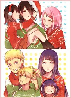 A Christmas family photo from Naruto and Sasuke's families.