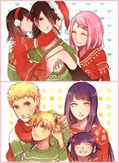 A Christmas family photo from Naruto and Sasuke's families.