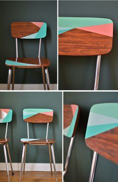 Relooking chaises rtro.... High quality Vintage maps. SILLAS PINTADAS. …