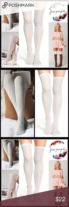 FREE PEOPLE Over The Knee Socks FREE PEOPLE Tall Over The Knee Boot Socks Thigh Highs  💟 NEW WITH TAGS 💟  * Super soft knit fabric w/allover eyelet pointelle knit pattern; Lightweight for layering options  * Over the knee & extra long thigh high length  * Stretch-to-fit style; Tagged one size fits most   * Approx. Fits Shoe sizes 5-10 Fabric: 99% nylon, 1% metallic Color: Sky  (a neutral pastel hue w/a hint of blue) Item:  🚫No Trades🚫 ✅ Bundle Discounts✅ Free People Accessories Hosiery…