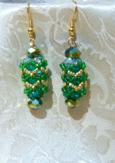 Dangle Earrings/ Green and Gold . Elegant green crystal and gold beaded drop earrings for your wedding day or evenings out. #SPBiz #Etsy_Today
