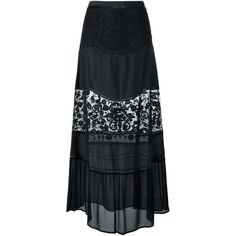 Twin-Set Lace Panel Long Skirt (£155) ❤ liked on Polyvore featuring skirts, black, long skirts, ankle length skirt, maxi skirt and floor length skirt