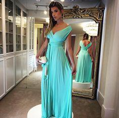 Vestido madrinha, casamento de dia, vestido azul tiffany , vestido fluido, vestido liso, vestido de festa