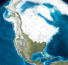 The extent of ice sheets over North America during the Pleistocene Era