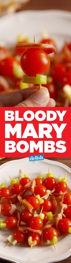 Bloody Mary bombs are the best way to brunch. Best Party Appetizers, Party Dip Recipes, Appetizer Dips, Appetizer Recipes, Party Nibbles, Cold Appetizers, Drink Recipes, Yummy Recipes, Gourmet