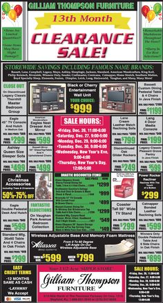 furniture sale ads. 13th Month Clearance Sale Happening Now! Storewide Savings On Many Famous  Name Brands! Furniture Sale Ads