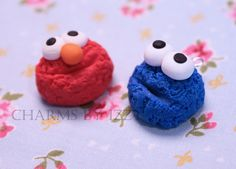 2x Elmo and Cookie Monster polymer clay charms Sesame Street