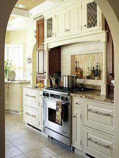 Safe Bet        One thing is certain when it comes to ranges: Safety is a top priority. While this range area packs a plethora of storage into a great design, it's also safe. Ample space on either side of the cooktop allows the cook to safely grip and rotate pans with extended handles and provides landing space for hot cookware. The National Kitchen and Bath Association recommends allowing at least 12 inches of countertop on one side of the cooktop and 15 inches on the other.