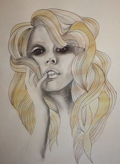 Lady Gaga - by ballpoint pen and water color