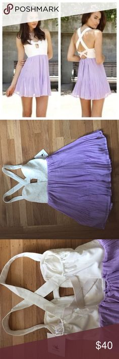 "Sabo Skirt ""Lavender Strap Dress"" Delicate, white and lavender dress with chest cut out and crossed straps. From Australian brand, Sabo Skirt. Size 6 is European sizing, can fit a small or medium Sabo Skirt Dresses Mini"