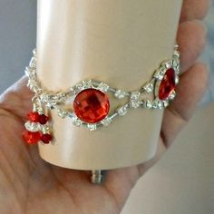 Bracelet red sparkling links handmade rhinestone size 7 1/4  All rhinestone bracelet big red small clear stones size 7 1/4 Handmade by Pat2   Bright and shiny well really glittery bracelet for any Hol