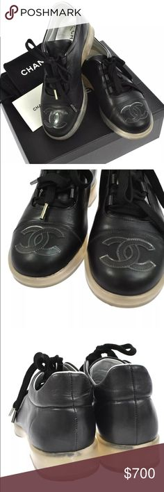 Authentic Chanel black leather CC logo sneakers Worn a few. See all photos. Comes with box! Some scuffs from normal wear. Size 36. Any questions with regards to what dentist today. No worries Poshmark will authenticate. Comes with box and everything as seen in photos. I can also show some additional photos if needed. Price is firm CHANEL Shoes
