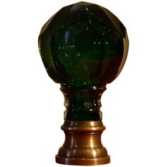 French Green  cut Newel Post or Boule d'escalier. Original bronze mounting plate. A beautiful dark green color, coming from a private European