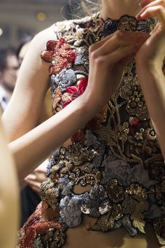 glamour:  Embellishment at Alexander McQueen spring 2016. Via Voguerunway.com