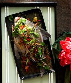 Australian Gourmet Traveller recipe for teochew steamed fish by Tony Tan
