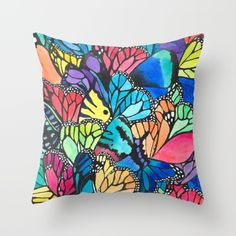 Butterfly Spark Throw Pillow by Amaya  - $20.00