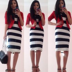 Striped Dress + Fitted Blazer modest outfit ideas