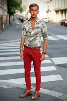 Men's Red Jeans, Tan Leather Brogues, Brown Leather Belt, and White Gingham Longsleeve Shirt