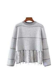 'Beau' Houndstooth Fringe Crewneck Sweater