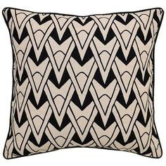 Check out the Olivia Throw Pillow featuring bold, black embroidery on 100% natural linen. The juxtaposed design with its gentle curves and sharp angles makes a chic statement wherever it's displayed.