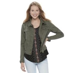 Juniors'+Mudd+Zip+Snap+Utility+Jacket.  I have this jacket. Help me style it. HOW TO WEAR CARGO WITH FLORALS Pair a military-inspired jacket with an ultra-feminine, floral piece (dress) to create a look that's light, airy, and perfectly on trend. Throw on a comfy, casual sandal for walks around town—
