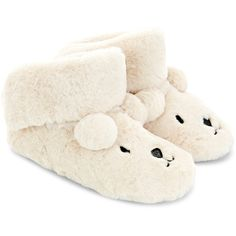 Accessorize Polar Bear Boot Slippers ($11) ❤ liked on Polyvore featuring shoes, slippers and pajamas