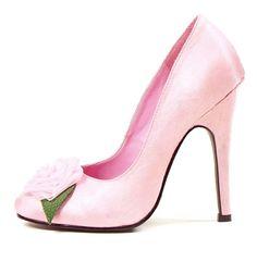 Baby & Pink 5 Heel Pump W/ Flower Detail, Cinderella Wedding Shoes