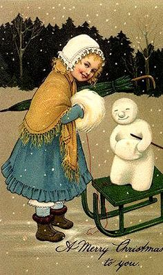 Giving the snowman a ride!
