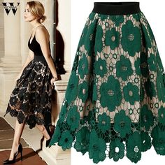 High Waist Boho Lace Skirt Women Midi European Style Jupe Tulle Femme Hollow Out Black Green Faldas Skirts Plus Size Long Skirts, Party Skirt, Party Dress, Swing Skirt, Vintage Skirt, Vintage Floral, Floral Lace, Casual Skirts, Black Skirts