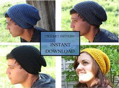 Crochet Pattern SLOUCHY BEANIE for men and women! -- ahh @Brinne Dawes Stewart ! I've found my future order! Lol