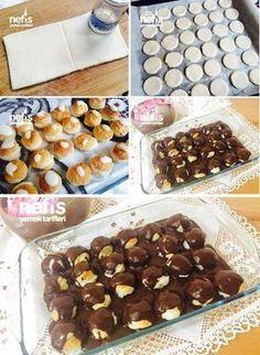 Şipşak Profiterol M ore Sweet Recipes, Cake Recipes, Dessert Recipes, Desserts, Profiteroles, Eclairs, Cheesecake Brownie, Far Breton, Pasta Cake