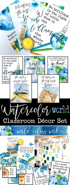 Watercolor World Classroom Decor: World Literature, Geography, History Watercolor World Classroom Decor Set: Beautiful and inspirational classroom decorations for a world, travel, and diversity themed classroom! History Classroom Decorations, World History Classroom, High School History, Classroom Decor Themes, History Teachers, Classroom Ideas, Themes For Classrooms, Classroom Quotes, Future Classroom