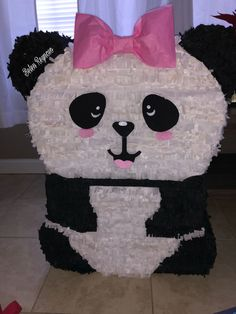 Created by Belen Reynoso  Girl panda piñata I made for my daughter