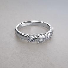 Half Bezel Set ctw Three Stone Diamond Ring in Platinum Three Stone Diamond Ring, Diamond Engagement Rings, Wedding Rings, Jewelry, Engagement Rings, Bijoux, Jewlery, Jewels, Jewelery