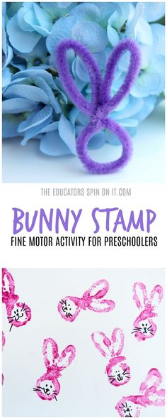 Fine Motor Bunny Stamp Paint Activity for Preschoolers. A hands on spring activity inspired by the classic book Peter Rabbit featured as a Virtual Book Club Activity along with several more bunny themed activities for preschoolers.  #vbcforkids #eduspin #easter #bunny #finemotoractivities