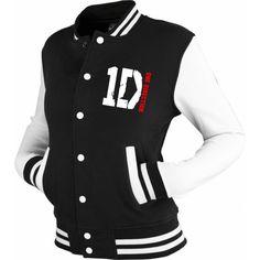 ONE DIRECTION inspired Varsity Jacket Top 1D tour black/white.