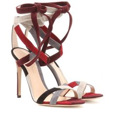 Gianvito Rossi - Crosby suede sandals - These hand-finished sandals from Gianvito Rossi have been crafted from the softest suede in a patchwork motif. Hues of red, maroon, grey and black combine effortlessly as the lace-up straps travel up the ankle. Team the luxe design with printed dresses. seen @ www.mytheresa.com