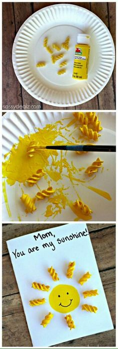 """Are My Sunshine"""" Noodle Card for Kids to Make gift/craft Crafts For Kids To Make, Projects For Kids, Kids Crafts, Diy And Crafts, Book Crafts, Easy Crafts, Craft Activities For Kids, Preschool Crafts, Homemade Anniversary Gifts"""