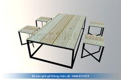 Bộ bàn ghế chân sắt gỗ thông pallet S7