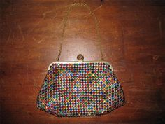 Vintage Antique Pronged Rhinestone Multicolor West Germany Evening Purse Bag