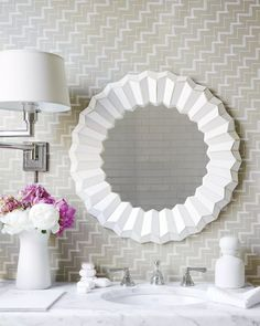 Mosaic MirrorMosaic Mirror Decor Pad, Bathroom Wallpaper, Mirror Bathroom, Mirror Mirror, White Bathroom, Bathroom Renovations, Bathroom Trends, Guest Bath, Fashion Room