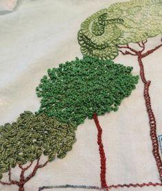 Árvores em bordado livre