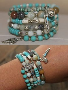 Memory wire bracelet mismatched beads teal and silver