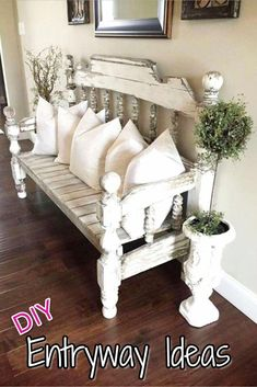 Beautiful entryway bench and small entryway decor ideas - would looks great in a. - Beautiful entryway bench and small entryway decor ideas – would looks great in a small foyer or a - Farmhouse Furniture, Shabby Chic Furniture, Farmhouse Stairs, Country Furniture, Bedroom Furniture, Rustic Farmhouse Entryway, Cottage Style Furniture, Cottage Style Decor, Western Furniture