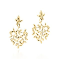 Paloma Picasso® Olive Leaf drop earrings in 18k gold, small.