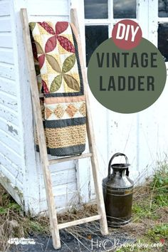 Today I'm sharing how to make a DIY vintage ladder for under ten dollars and give it an easy rustic finish for the perfect home decor item. Diy Ladder, Rustic Ladder, Ladder Decor, Do It Yourself Decorating, Decorating On A Budget, Diy Barbie Furniture, Diy Furniture, Steel Furniture, Garden Furniture