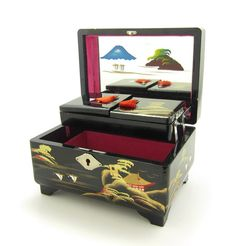 Jewelry Box Japanese Black Lacquered by BrownEyedRoseVintage