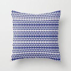 Blue Folk Art Triangles  Throw Pillow  16 x by HomeDecorKATNAWLINS, $28.00
