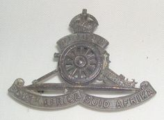 South African ARTILLERY Military Cap Badge King's Crown Type WWI (WW1) Militaria